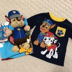 Paw Patrol 2T shirt and bath towel scrubby set